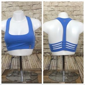 NWT blue active sports bra back cut out size small